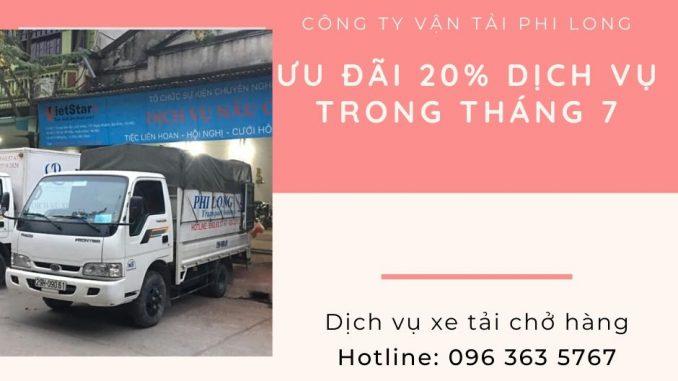 Dịch vụ taxi tải Phi Long tại xã Thống Nhất